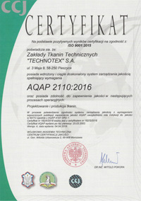Specialized fabric certificate