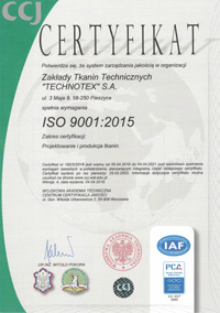 Technical fabric certificate